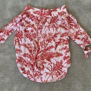 H&M Hawaii Floral White & Coral Blouse Top size 6